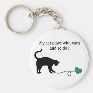 Black Cat & Heart Shaped Yarn (Turquoise) Basic Round Button Keychain