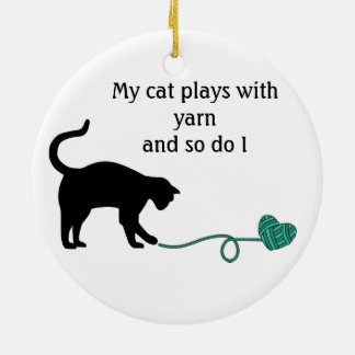 Black Cat Heart Shaped Yarn Turquoise Christmas Ornament