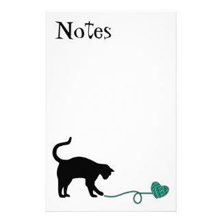 Black Cat & Heart Shaped Yarn (Turquoise) Stationery