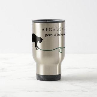 Black Cat & Heart Shaped Yarn (Turquoise) Travel Mug