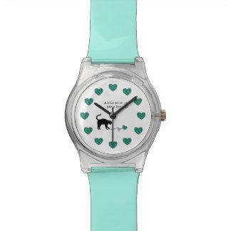Black Cat & Heart Shaped Yarn (Turquoise) Wrist Watch