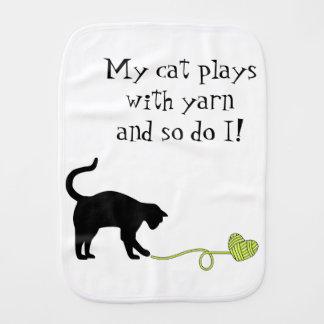 Black Cat & Heart Shaped Yarn (Yellow) Baby Burp Cloth