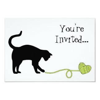 Black Cat & Heart Shaped Yarn (Yellow) Card