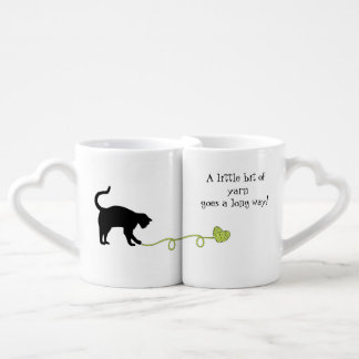 Black Cat & Heart Shaped Yarn (Yellow) Coffee Mug Set