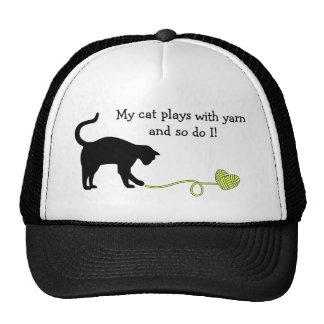 Black Cat & Heart Shaped Yarn (Yellow) Trucker Hat