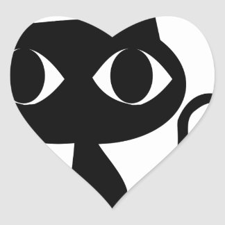 Black Cat Heart Sticker