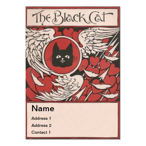 Black Cat, Hearts and Wings Vintage Business Card Templates