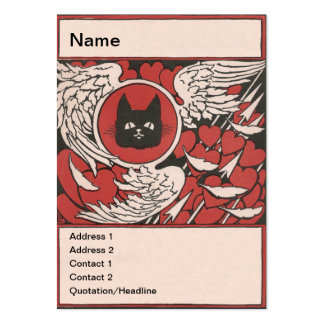 Black Cat, Hearts and Wings Vintage Business Card Template