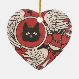 Black Cat, Hearts and Wings Vintage Ceramic Ornament