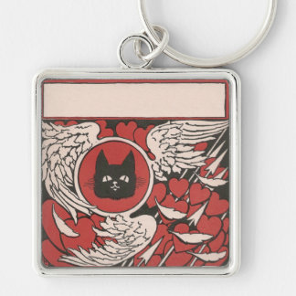 Black Cat, Hearts and Wings Vintage Keychain
