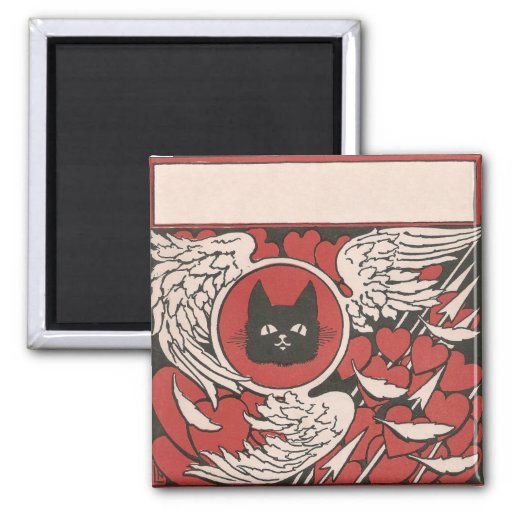 Black Cat, Hearts and Wings Vintage Refrigerator Magnet
