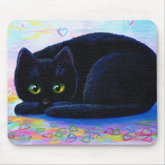 Black Cat Hearts Valentine Creationarts Mouse Pad