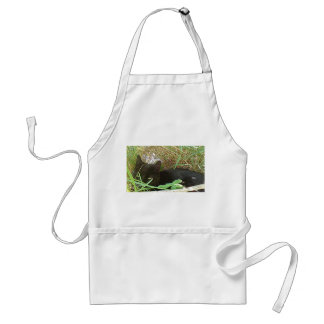 Black Cat Hiding in Grass Adult Apron