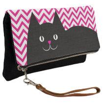Black Cat Hot Pink Chevron Clutch