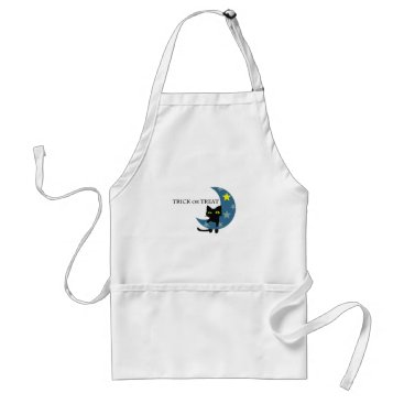 Halloween Themed Black Cat Hunging the Blue Moon Adult Apron