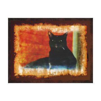 Black Cat Impressionist Art Portrait Canvas