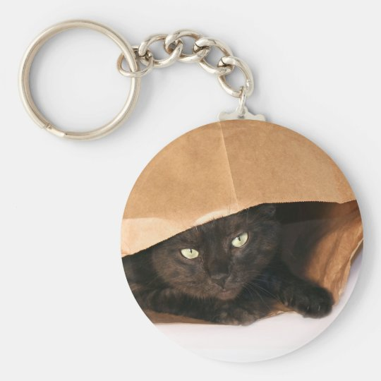 Black cat in a bag keychain