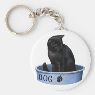 Black Cat in a Dog Dish Basic Round Button Keychain