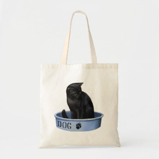 Black Cat in a Dog Dish Tote Bag