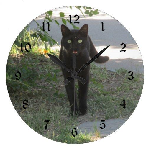 Black Cat In A Garden Large Clock Zazzle