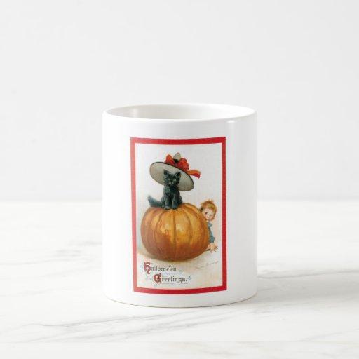 Black Cat in a Hat Halloween Classic White Coffee Mug