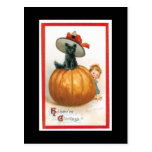 Black Cat in a Hat Halloween Post Cards