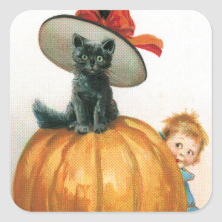 Black Cat in a Hat Halloween Square Sticker