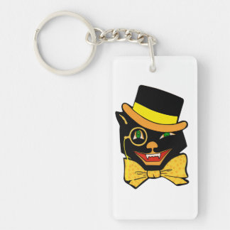 Black Cat in a Top Hat Keychain