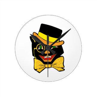 Black Cat in a Top Hat Round Clock