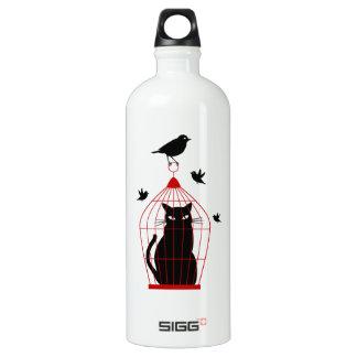 black cat in birdcage with birds SIGG traveler 1.0L water bottle