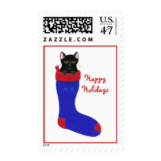 Black Cat in Blue Stocking Christmas Stamps