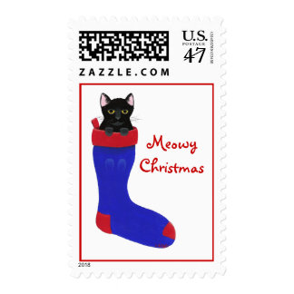 Black Cat in Blue Stocking Meowy Christmas Stamps