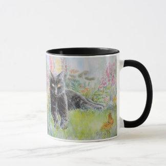Black Cat in Field of Flowers Mug