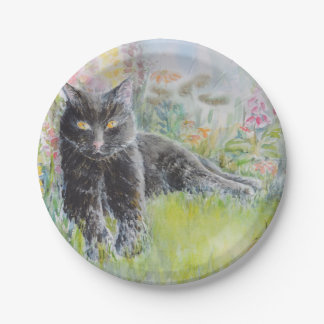 Black Cat in Field of Flowers Paper Plate