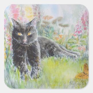 Black Cat in Field of Flowers Square Sticker