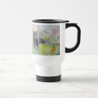 Black Cat in Field of Flowers Travel Mug
