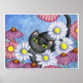 Black Cat In Flowers Art Poster