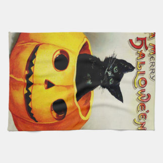 Black Cat In Jack O' Lantern Hand Towel
