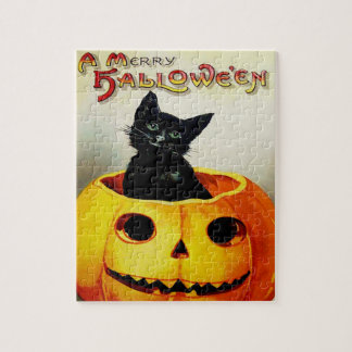 Black Cat In Jack O' Lantern Jigsaw Puzzle