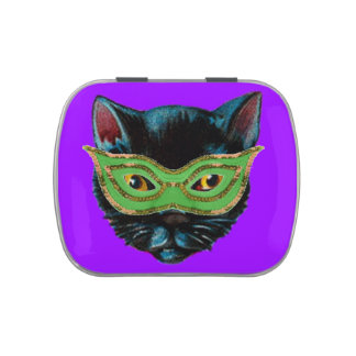 Black Cat in Mask Candy Tin