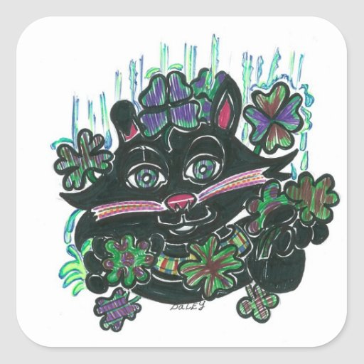 Black Cat in Misty Clover Square Stickers