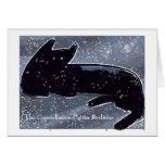 Black cat in night sky of stars card
