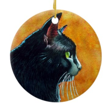 Halloween Themed Black Cat in Profile Christmas Ornament