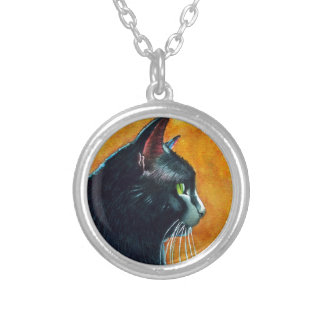Black Cat in Profile, Tickles Silver Plated Necklace