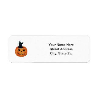 Black Cat in Pumpkin Custom Return Address Labels