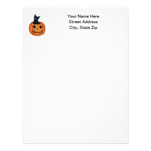 Black Cat in Pumpkin Letterhead Design