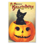 Black Cat In Pumpkin Merry Halloween Vintage Art Photo Print