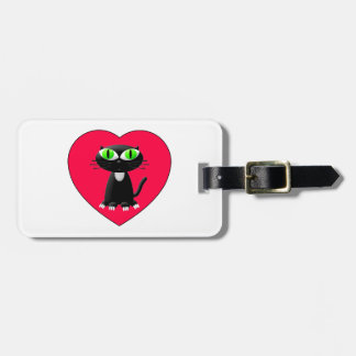 Black Cat In Red Heart Luggage Tag