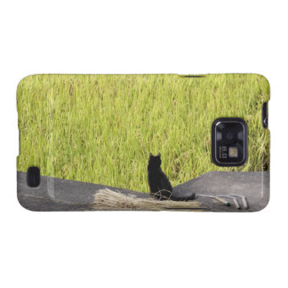 Black Cat in Rice Paddy Samsung Galaxy Covers