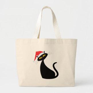 Black Cat in Santa Hat Jumbo Tote Bag